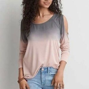 AE SOFT & SEXY OMBRÉ COLD SHOULDER TOP